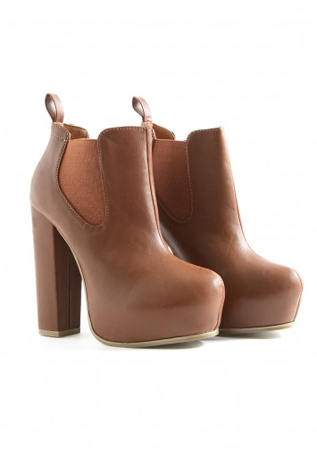 Celestina Platform Ankle Boots In Tan - boots - missguided