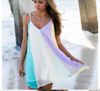 dress spagetti strap rainbow dress summer beach v neck chiffon dress mini shorts