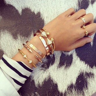 jewels gold bracelets hipster indie fashhion studs spikes arrow skull