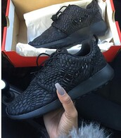 shoes,black,black shoes,nike,crocodile,nike roshe run,geometric,nike sneakers,nike roshe men,roshes,diamonds,sneakers,nike running shoes,black nike,nike dmb,black roshes,black nike shoes,amazing,roshe runs,all black everything,studs,nike shoes,black nikes,special edetion,hipster,nice,nike sportswear,black sneakers,pink & black nike air shoes,faboulos,nike shoes with leopard print,leather,low top sneakers