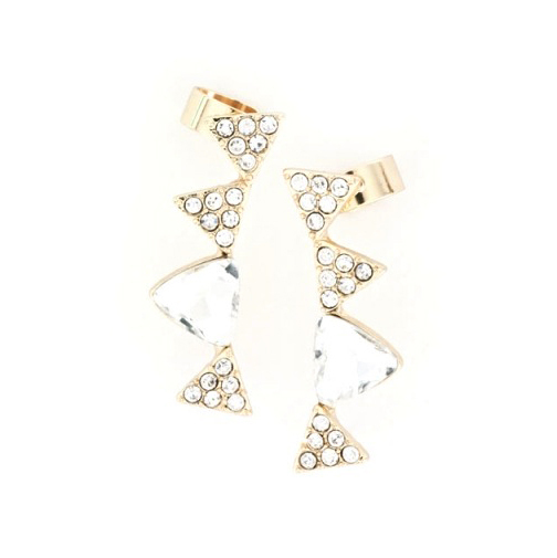 Crystal triangle ear cuffs earrings