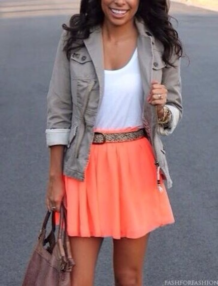 jacket green jacket skirt pink skirt peach skirt white tank top