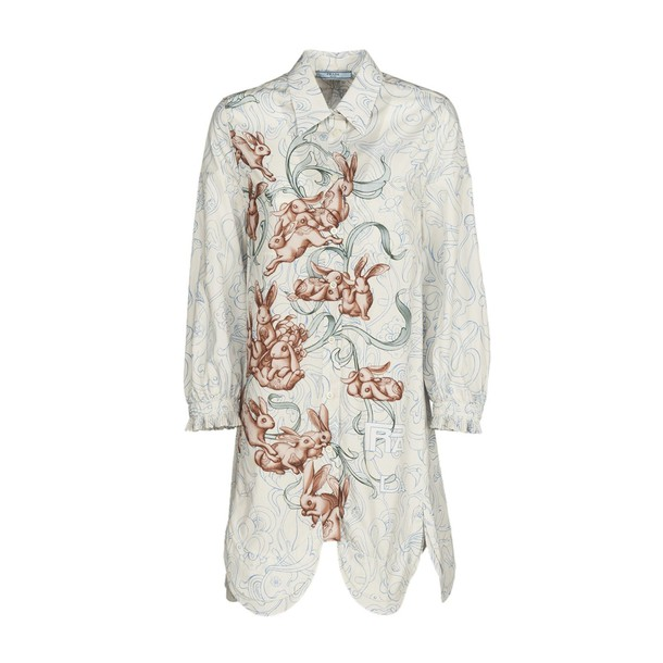 Prada shirt dress shirt bunny print white top