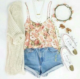 blouse shorts converse necklace glasses flower crown floral tank top cardigan