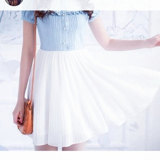 cute dress denim bottons dress lace chiffon summer