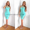 Strappy cut out midi bandage dress turquoise