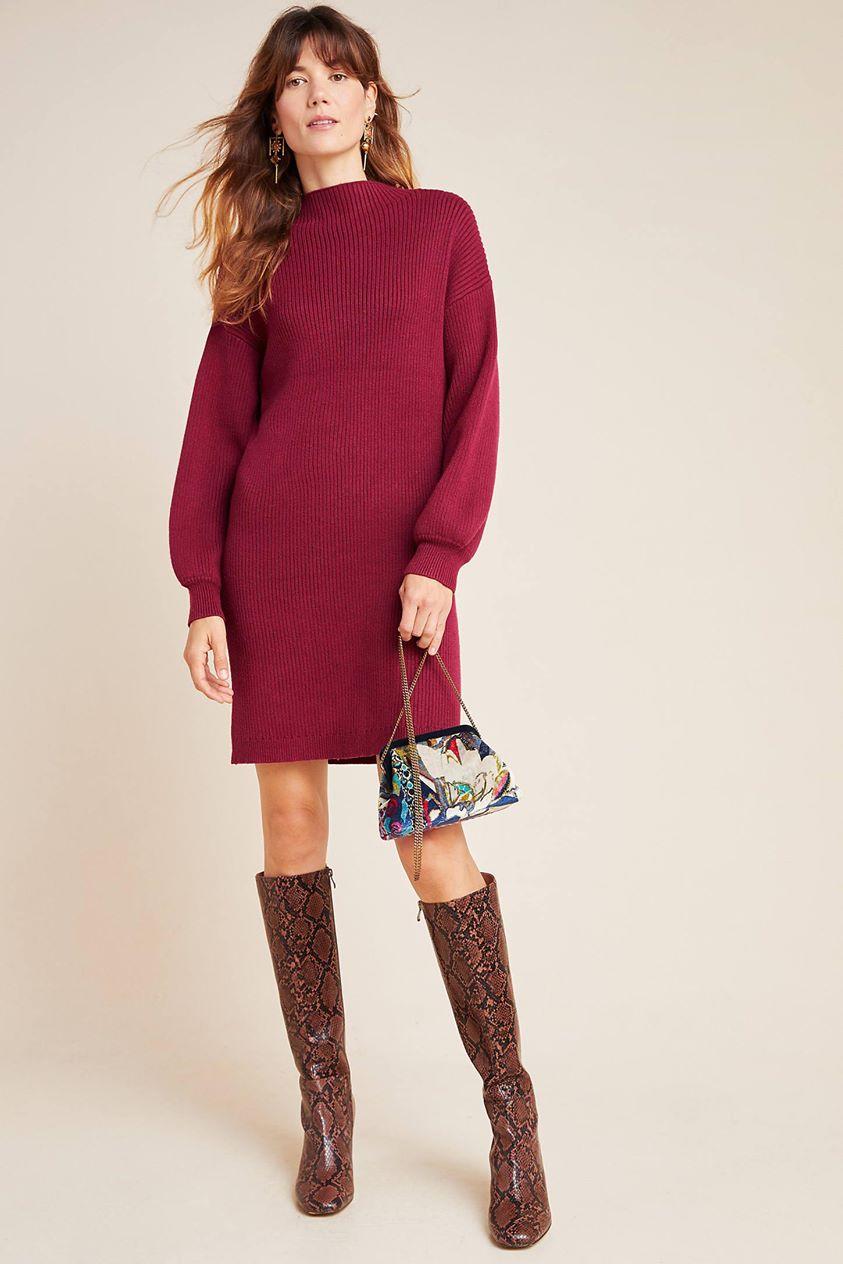 Alder Mock Neck Sweater Dress by Line & Dot in Purple