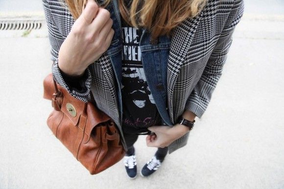 my daily style coat bag t-shirt jewels