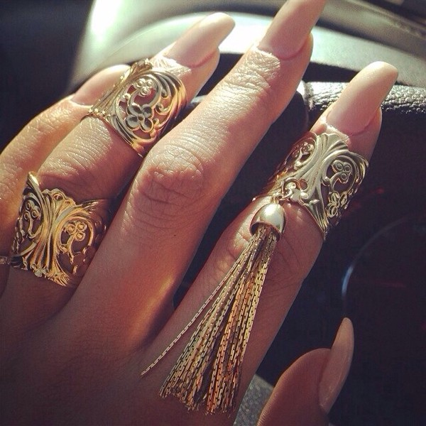 jewels gold ring ring ring bling hold chic gold accessories fancy tassel cuffs