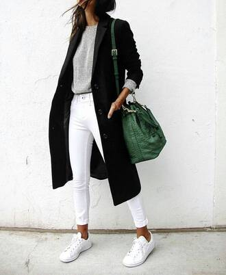 jeans white jeans long coat grey sweater white sneakers casual maxi bag bucket bag leather bag green bag back to school fall outfits