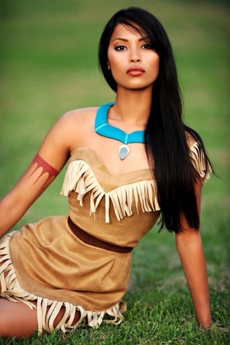 dress jewels jewelry pocahontas cosplay brown beautifull blue cool disney cute