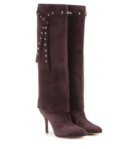 Valentino Embellished Suede Knee-high Boots in brown