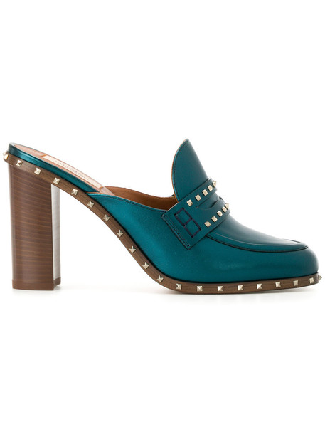 Valentino women mules leather blue shoes