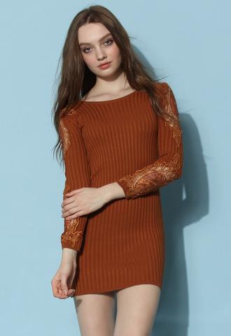 dress chicwish crochet sleeves dress fitted knit dress tan dress chicwish.com