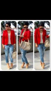 jacket,boyfriend blazer,blazer,red,fashion,rouge,cintre,classe