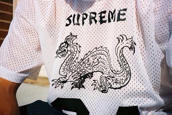 menswear mens t-shirt t-shirt white shirt dragon supreme letters logos jersey