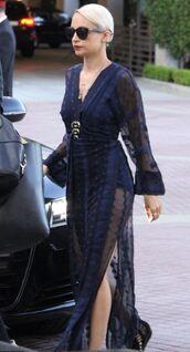 dress,maxi dress,summer dress,navy,nicole richie,slit dress,sheer,triple