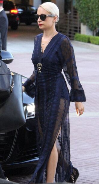 dress maxi dress summer dress navy nicole richie slit dress sheer triple