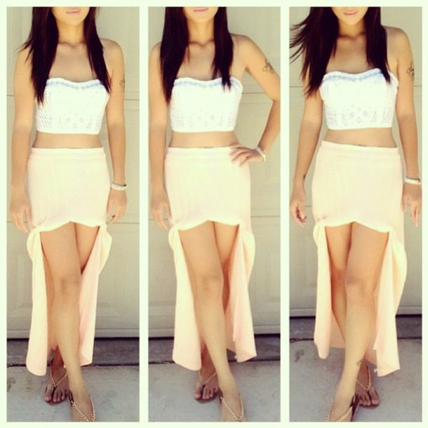 skirt cream skirt high low skirt tank top white crop tops sandals shoes