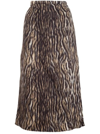 skirt midi skirt midi print leopard print brown