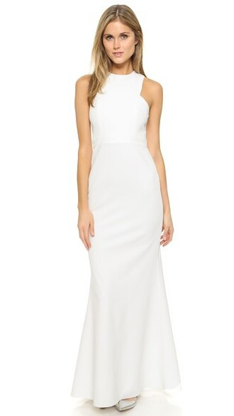 gown sleeveless white dress