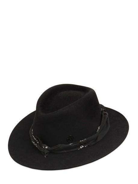 MAISON MICHEL Thadee Maculine Bandana Fur Felt Hat in black