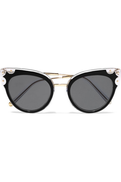 Dolce & Gabbana - Cat-eye Studded Gold-tone And Acetate Sunglasses
