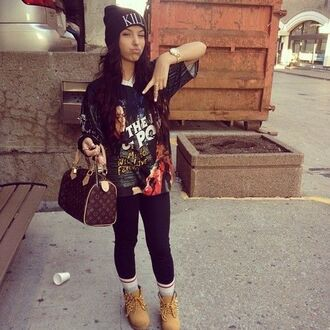 shirt spikes bag clothes dope swag t-shirt oversized t-shirt socks high socks ankle socks black leggings beanie watch boots timberlandgirls streetstyle streetfahion street streetwear big bag graphic tee graphic t-shirt graphic killem
