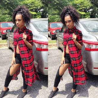 blouse natural hair plaid flannel long red black ootd ripped leggings leggings black leggings african american black shoes