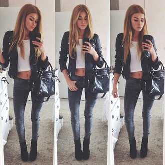 jacket black leather winter outfits outwear leather jacket slim