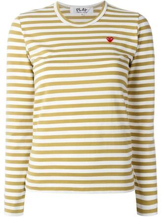 t-shirt shirt striped t-shirt heart mini nude top