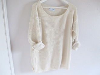 knitwear sweater fashion white fall outfits comfy girl hipster comfysweater knitted sweater t-shirt white jumper blouse pretty girly cream sweater knit jumper classy brandy cream top outerwear warm cozy outfit clothes brandy melville vintage white sweater oversized sweater oversized loose