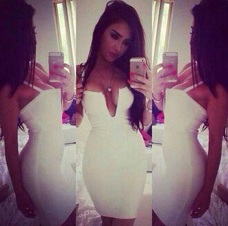 dress white dress deep v dress v neck dress sexy dress