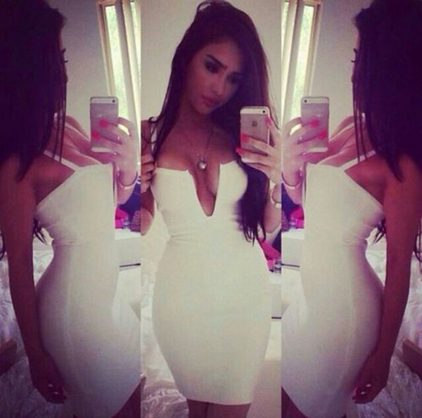 dress white dress low plunge