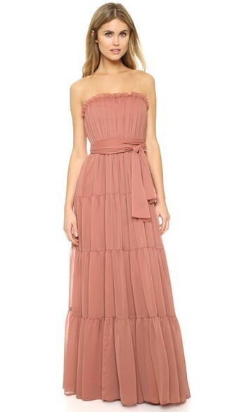 gown strapless chiffon rose dress