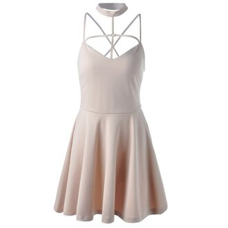 dress strappy nude beige trendy cute fashion girly skater dress rosewholesale.com