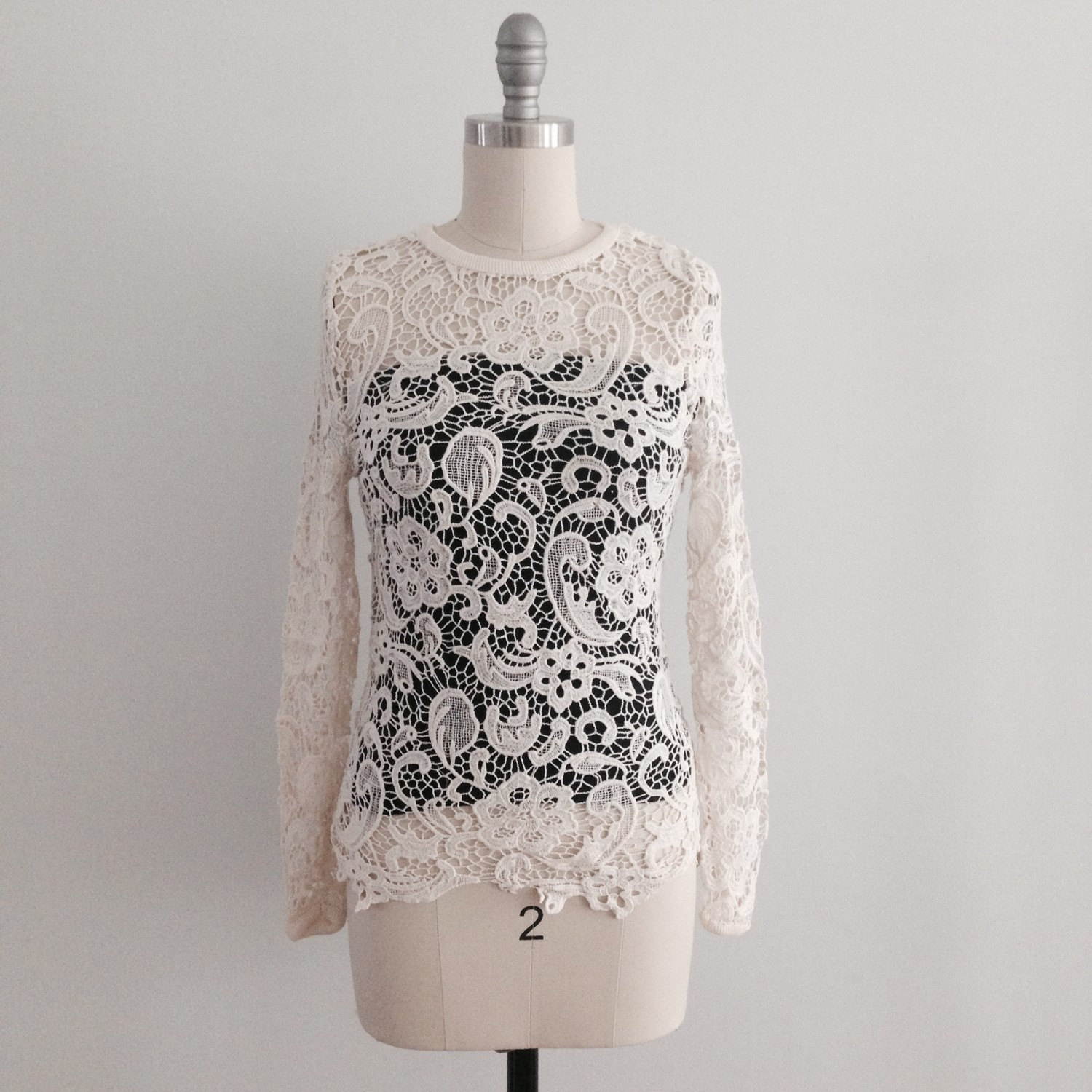 Sonia ivory crochet lace fitted shirt blouse top