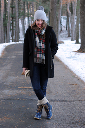 sequins & stripes,coat,sweater,scarf,shoes,hat,jewels