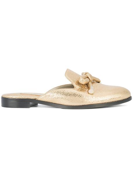 oscar de la renta women mules leather yellow orange shoes