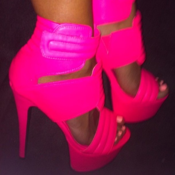 shoes high heels heels fluo neon pink neon pink