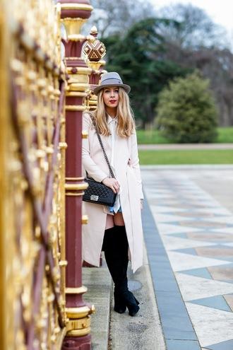 caroline louis pardonmyobsession blogger hat black bag shoulder bag blue skirt mini skirt knee high boots suede boots long coat white long coat