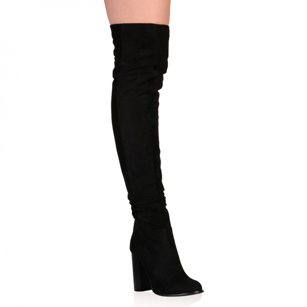 d49391afe12 Hope Over the Knee Boots in Black Faux Suede