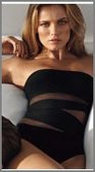 one piece black swimwear swimwear bandeau swimsuit meriell elite fashion swimwear