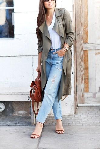 coat green coat tumblr duster coat jeans denim blue jeans ripped jeans t-shirt white t-shirt sandals sandal heels high heel sandals bag brown bag