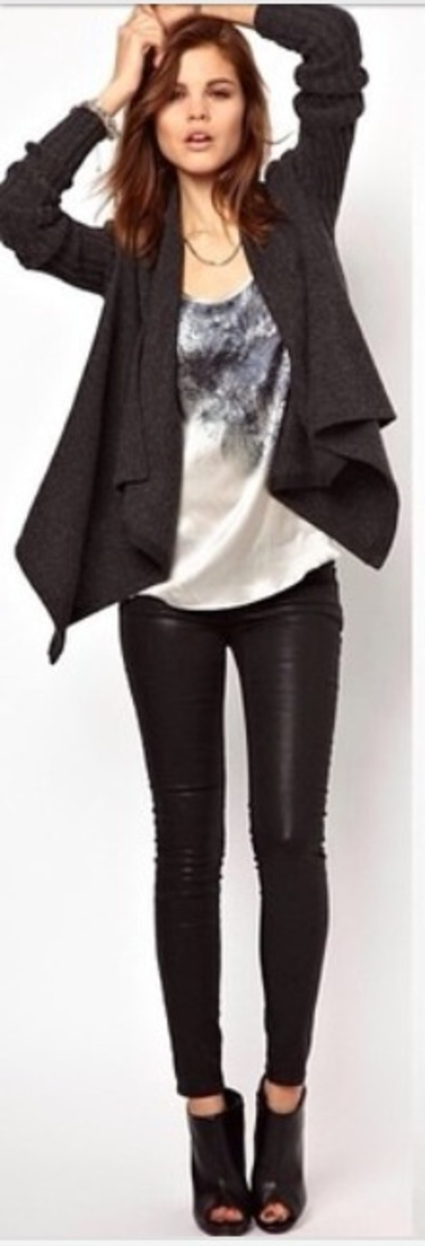 jeans black leather pants