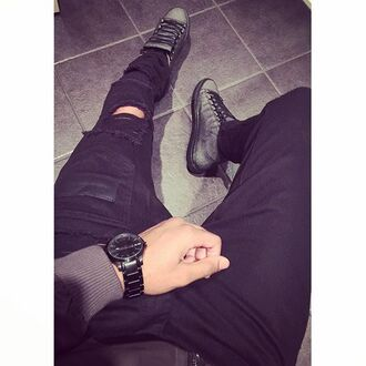 jeans maniere de voir mdv ripped pockets patch leather detailed black