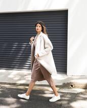 dress,midi dress,sleeveless dress,silk dress,sneakers,white sneakers,coat,wool coat