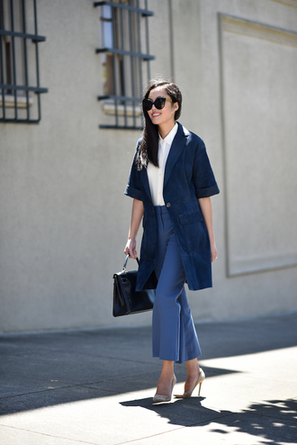 pants tumblr blue pants cropped pants shirt white shirt coat blue coat pumps pointed toe pumps high heel pumps bag black bag sunglasses