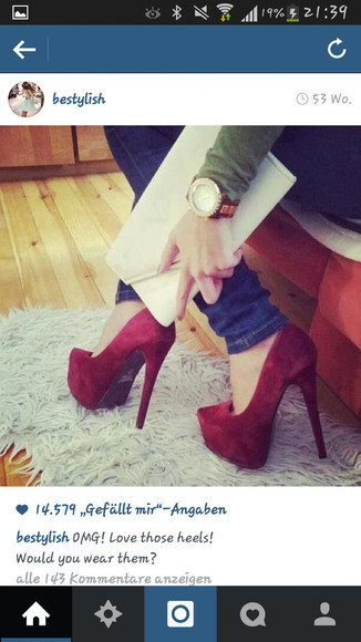 high heels shoes red bag watch jeans