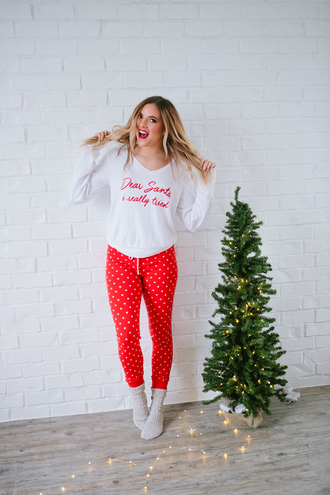 pajamas tumblr christmas pajamas holiday season holiday gift socks nightwear polka dots holiday home decor quote on it